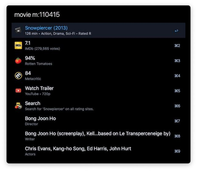 10. Movie and TV Search - Alfred Workflow