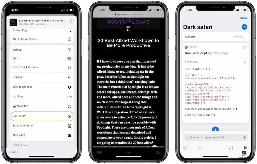 Best Siri Shortcuts - Dark Safari