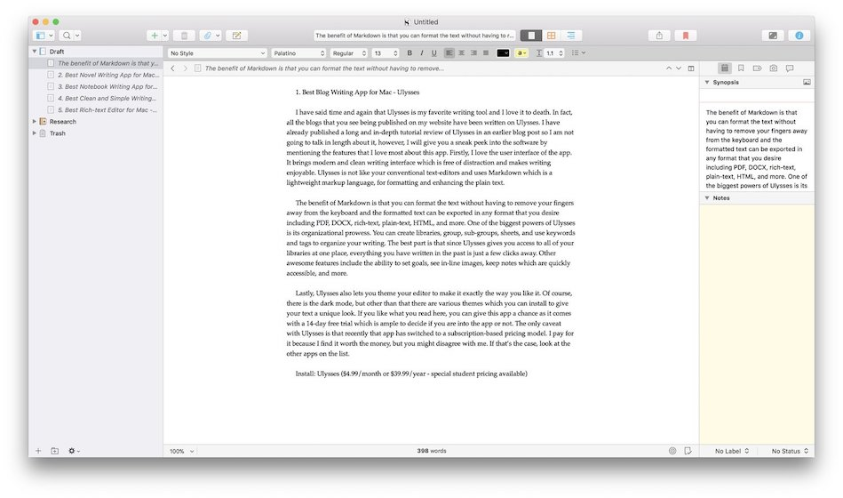 2. Scrivener - Best Novel Writing App 2