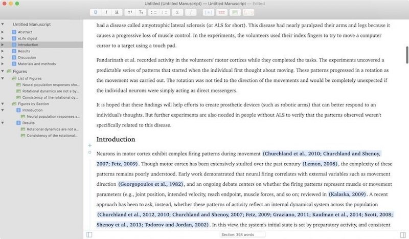 5. Manuscripts - Best Academic Writing App for Mac 1