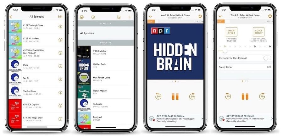 5. Overcast: Most Popular Podcast Player on iOS