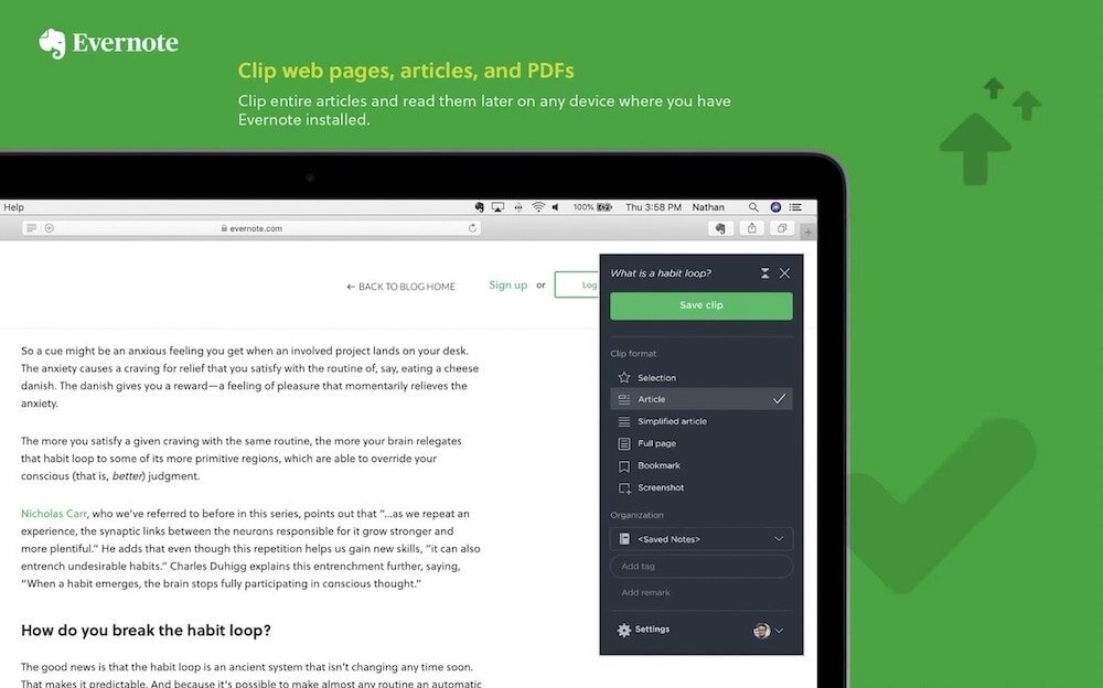 6. Evernote Web Clipper for safari