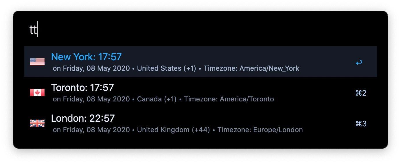 9. TimeZones - Alfred Workflow