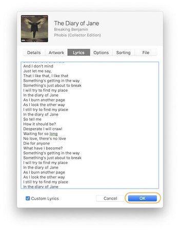 Add Custom Lyrics to Songs in Apple Music 4