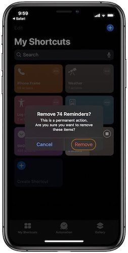 Delete Completed Reminders in Apple Reminders 3