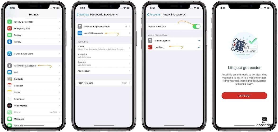 Enabling Password Autofill in Apps and Website in iOS 1
