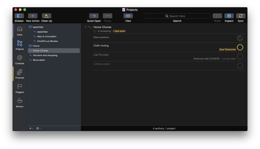 7. Best Task Management App for Mac: OmniFocus