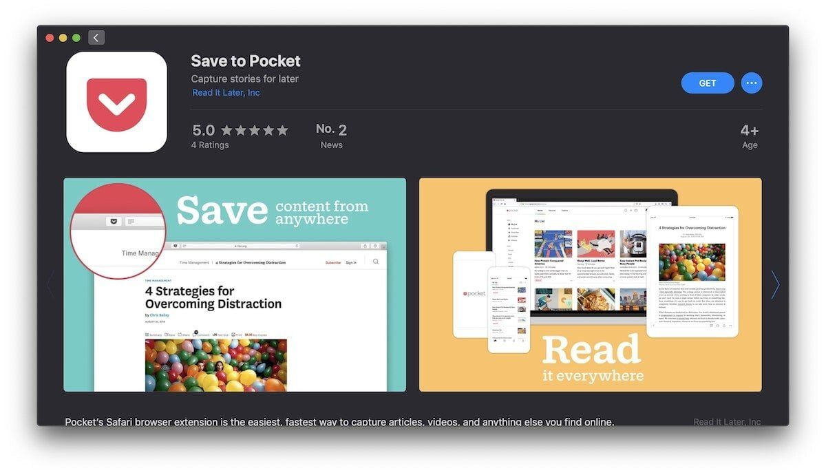Pocket Safari extension