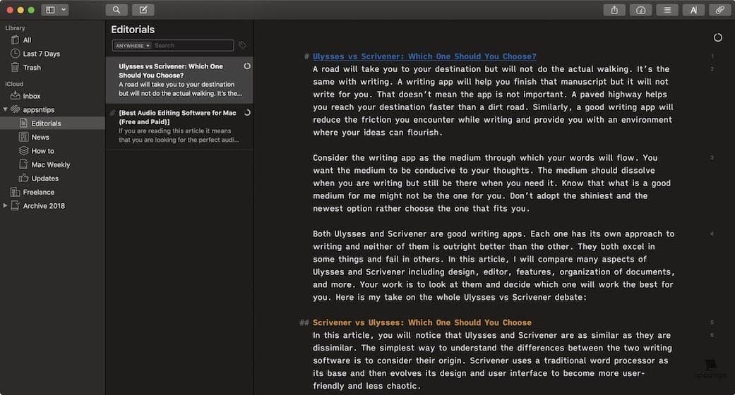 Scrivener vs Ulysses - Design - Ulysses 1