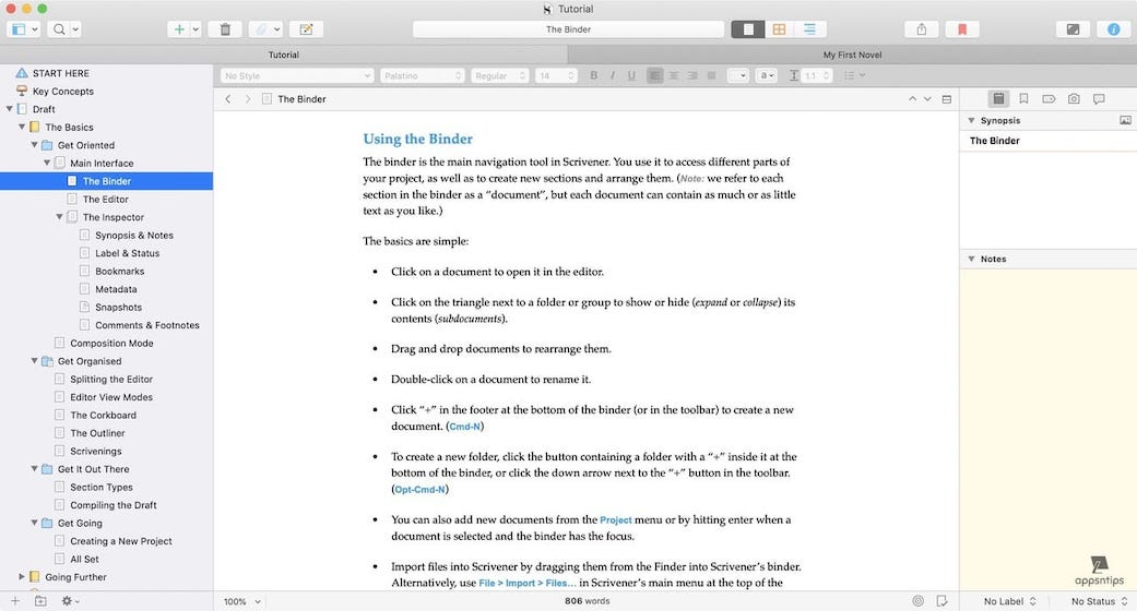 Scrivener vs Ulysses - Design - Scrivener 1