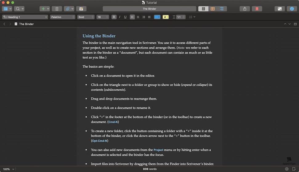Scrivener vs Ulysses - Design - Scrivener 2