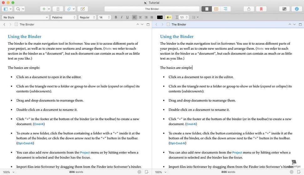 Scrivener vs Ulysses - The Editor - Scrivener