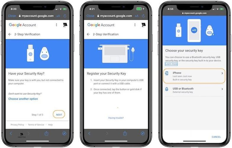 Steps for Enabling iPhone's Built-in Security Key as 2FA on Google 6