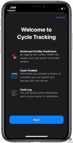 Steps to Set up Period Tracking in Apple Health in iOS 13 - 3