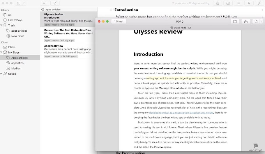 Ulysses: Exporting Formats and Preferences 2