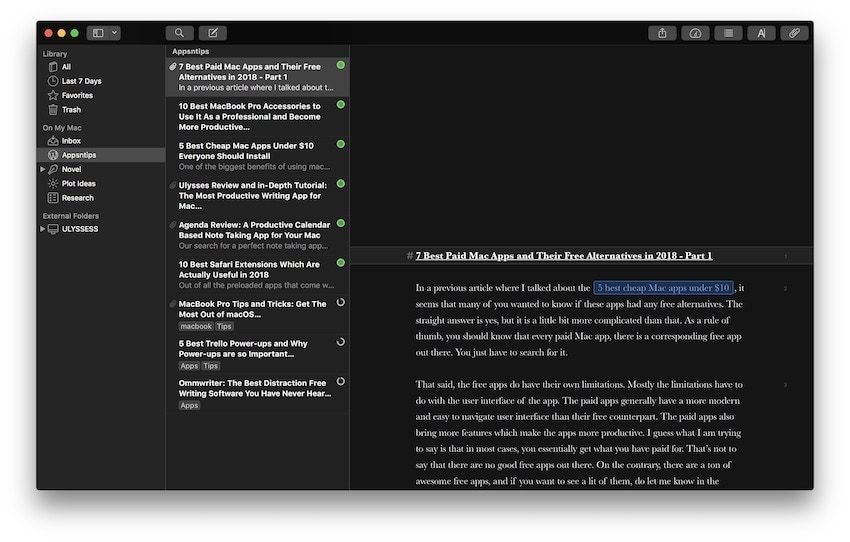 4. Best Writing App For Mac: Ulysses