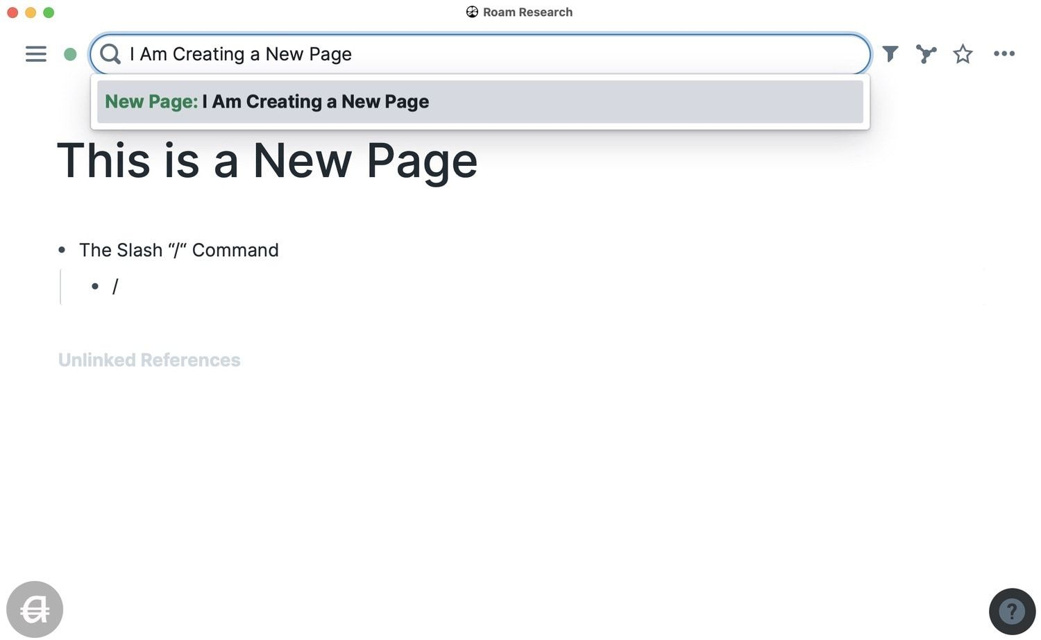 Creating a New Page in Roam Research