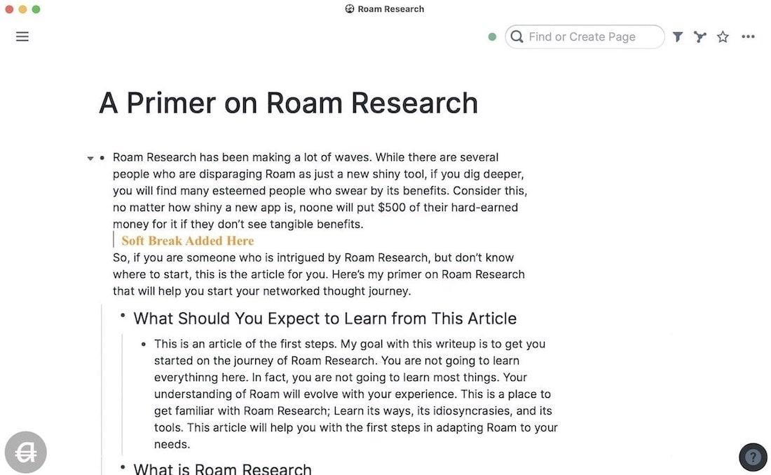 Soft Break In Roam Research