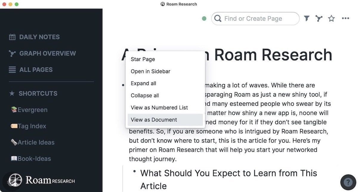 View as Document in Roam Research