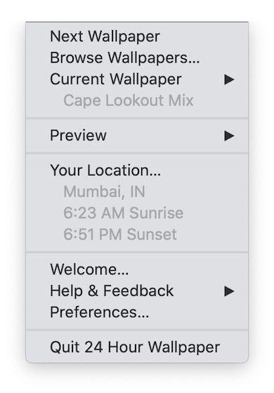 24 Hour Wallpaper Menu Bar App