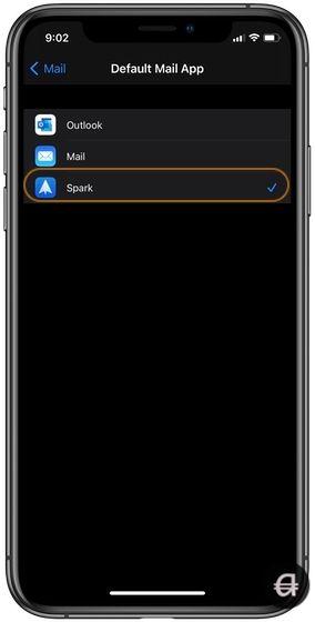 Choosing Spark as default email app