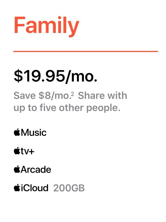 Apple One Family Plan
