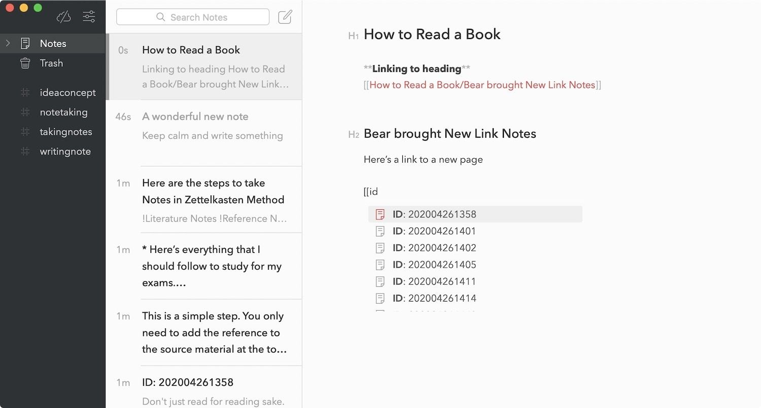 Bear App Linked Notes and Backlinks