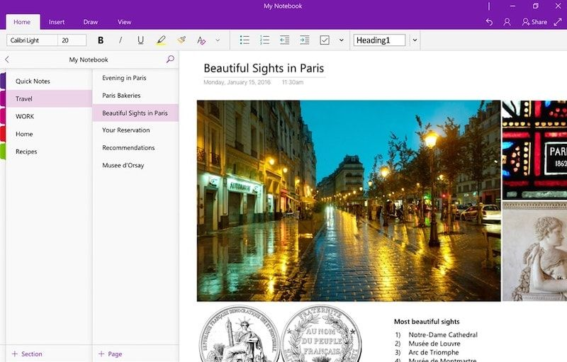 OneNote User interface