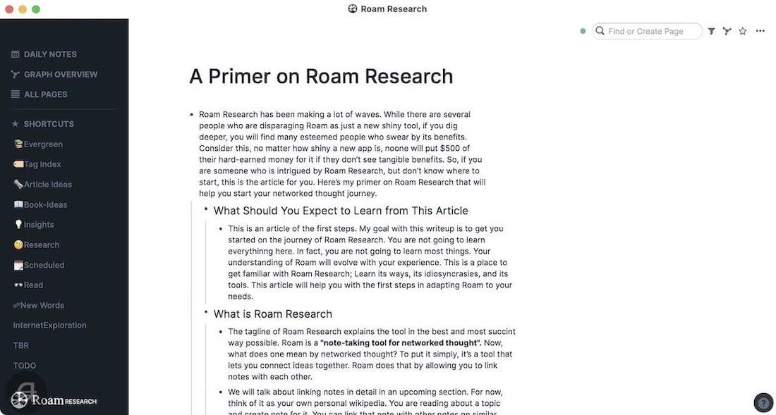 Writing in Roam Research
