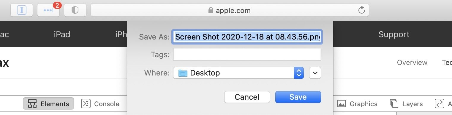 Save Screenshot on Safari