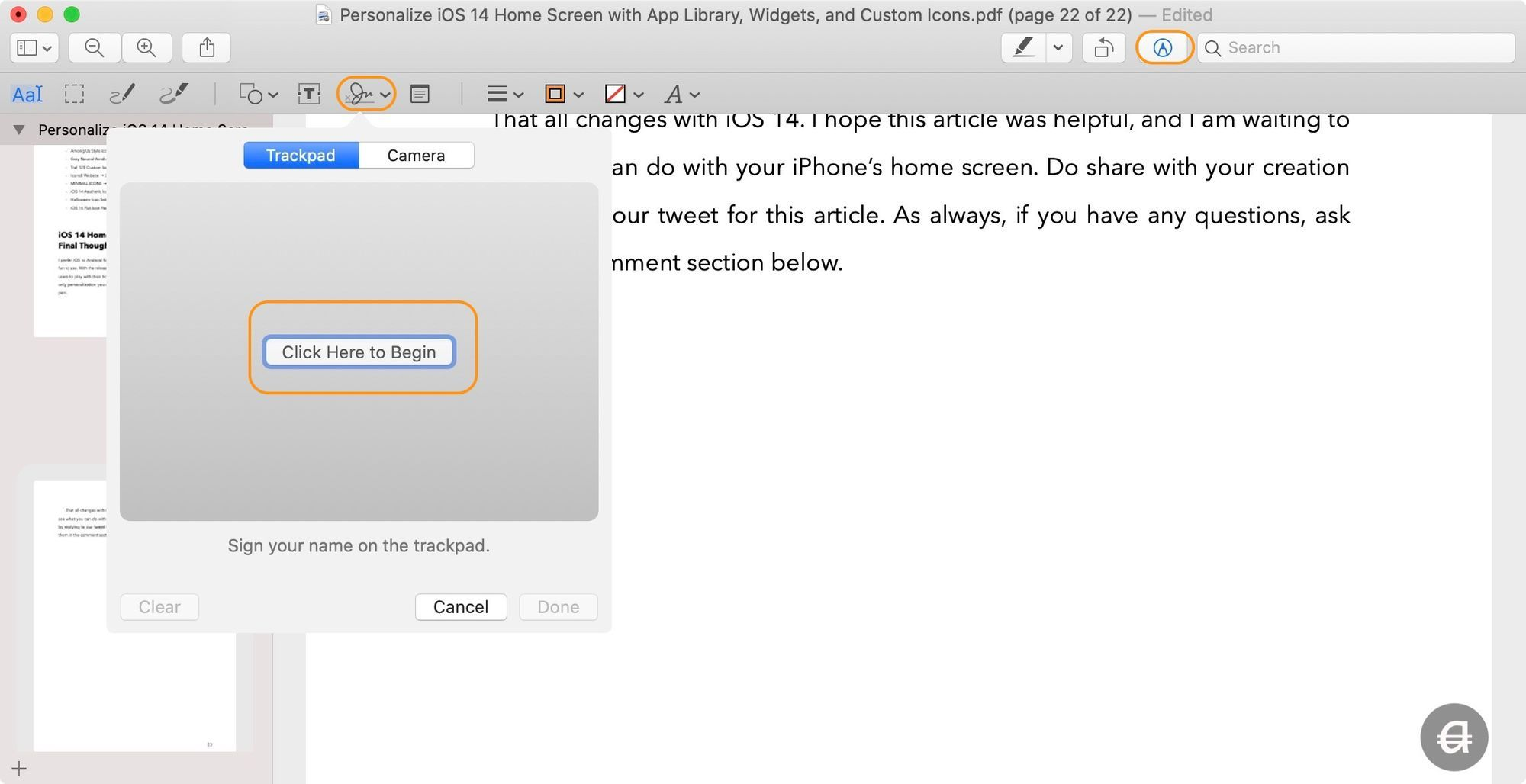 Add Signature to PDF Using Preview 1