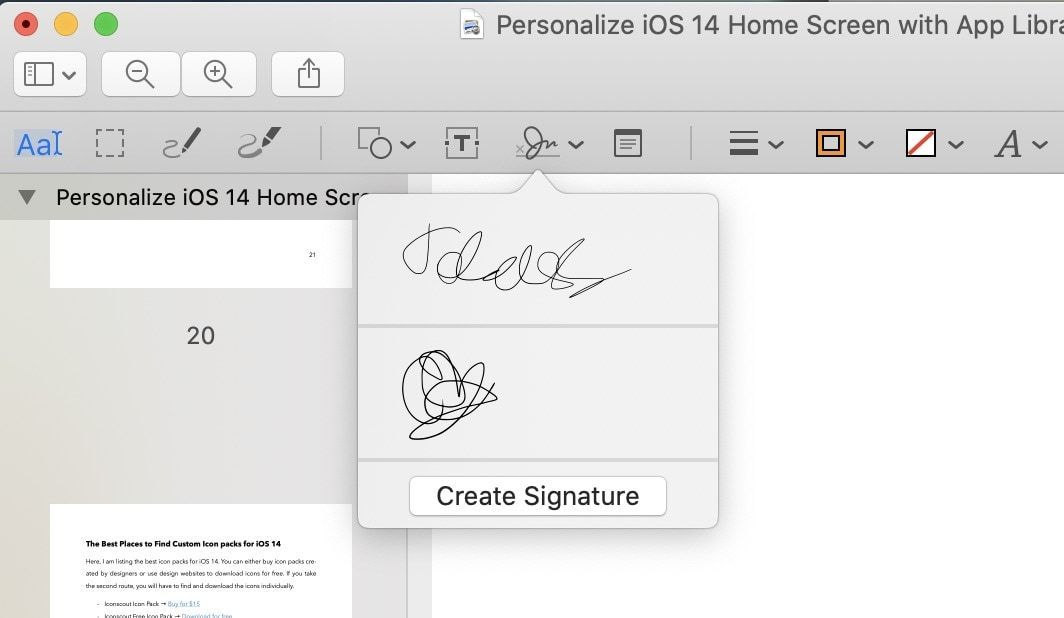 Add Signature to PDF Using Preview 4
