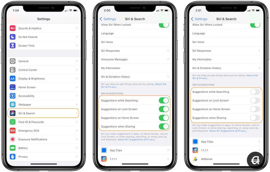Disable Siri suggestions on iPhone and iPad