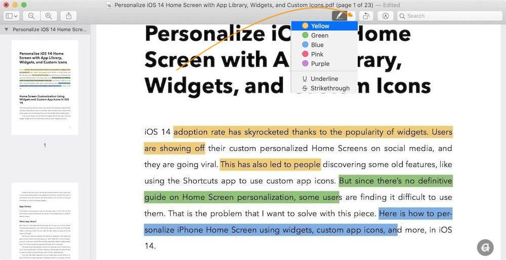 Highlight, Underline, and Strikethrough PDF Files Using Preview on Mac 3