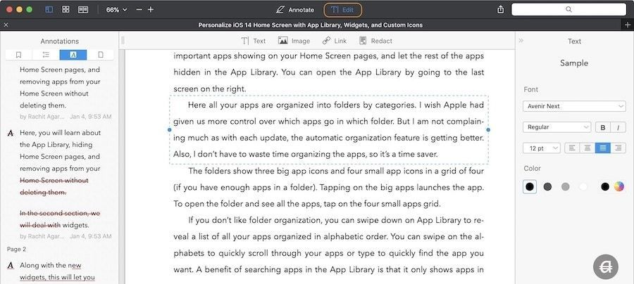How to Edit Original Text of a PDF Document using PDFExpert 1