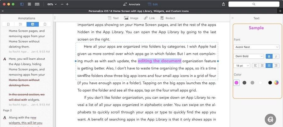 How to Edit Original Text of a PDF Document using PDFExpert 2