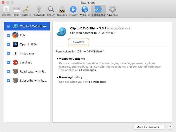 Safari Extensions tab uninstall