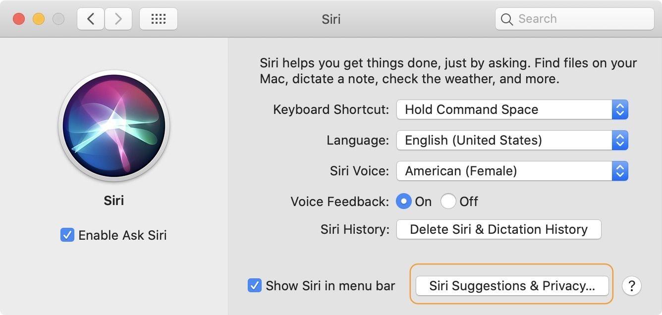 Turn off Siri Suggestion on Mac 1