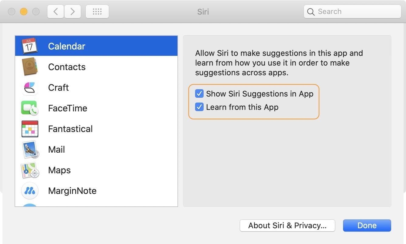 Turn off Siri Suggestion on Mac 2