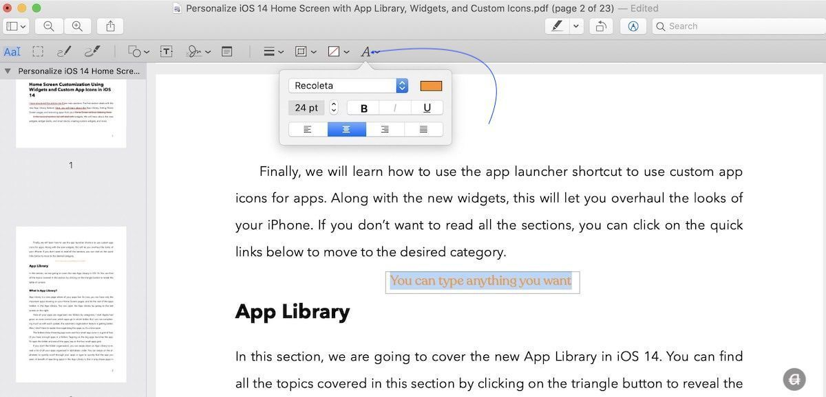 Type and Add Text on PDF Using Preview on Mac 3