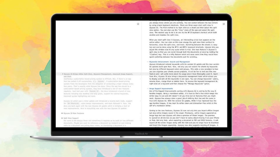 Ulysses 15 Brings Editor Split View,  Remote Image Support, Keywords Management and More